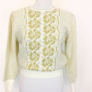 Metallic Gold and White Vintage Inspired Sweater